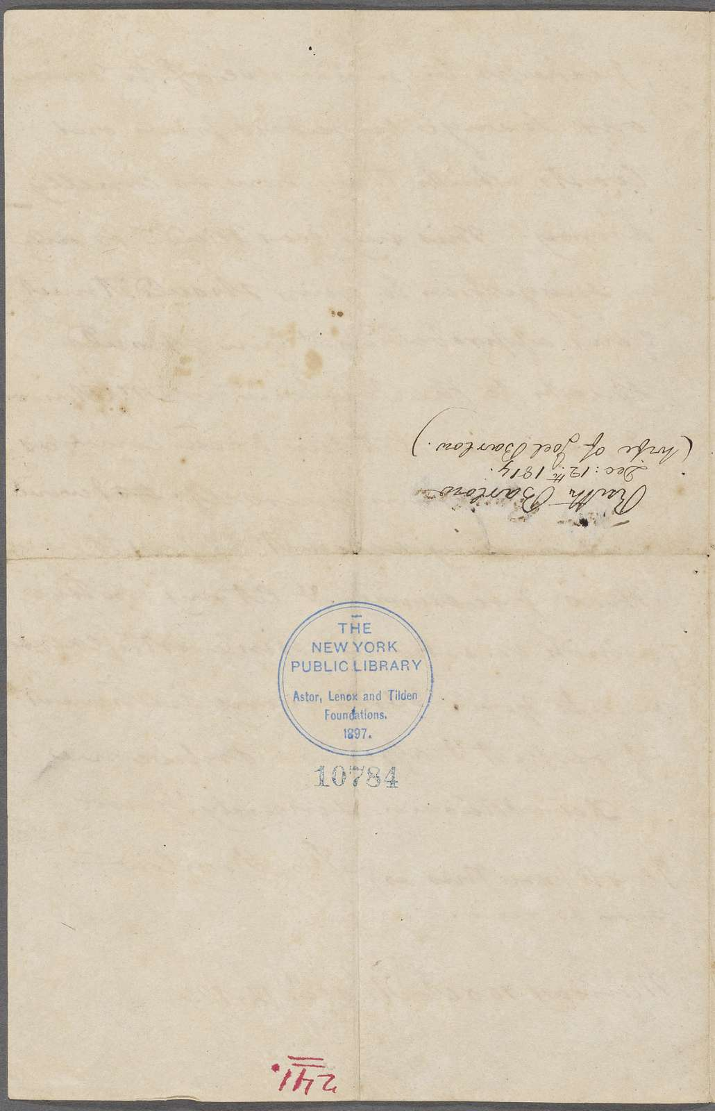 Letter from Ruth Barlow to Dolley Madison