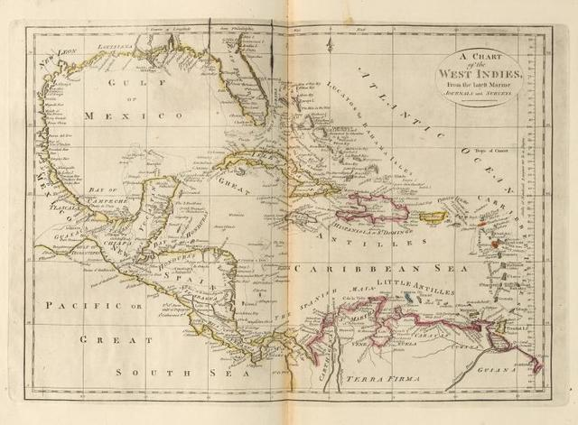 A chart of the West Indies, from the latest marine journals and surveys.