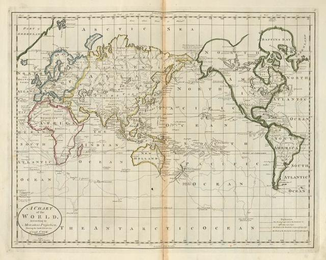 A chart of the world, according to Mercators Projection (shewing the latest discoveries of Capt. Cook.)