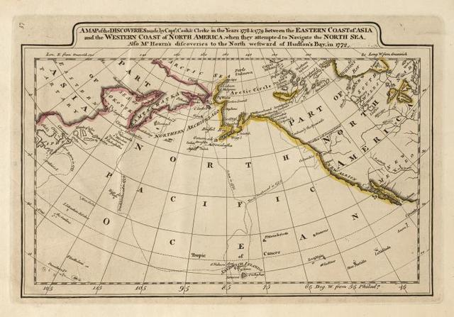 A map of the discoveries made by Capts. Cook & Clerke in the years 1778 and 1779 between the eastern coast of Asia and the western coast of North Africa, when they attempted to navigate the North Sea. Also Mr. Hearn's discoveries to the north westward of Hudson's Bay, in 1772.