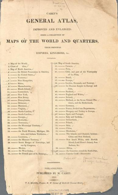 Carey's general atlas ... [Title page]