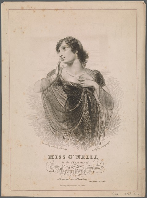 Engraving of Miss O'Neill in the character of Belvidera in the stage production Venice Preserved, Act 3, Scene 1