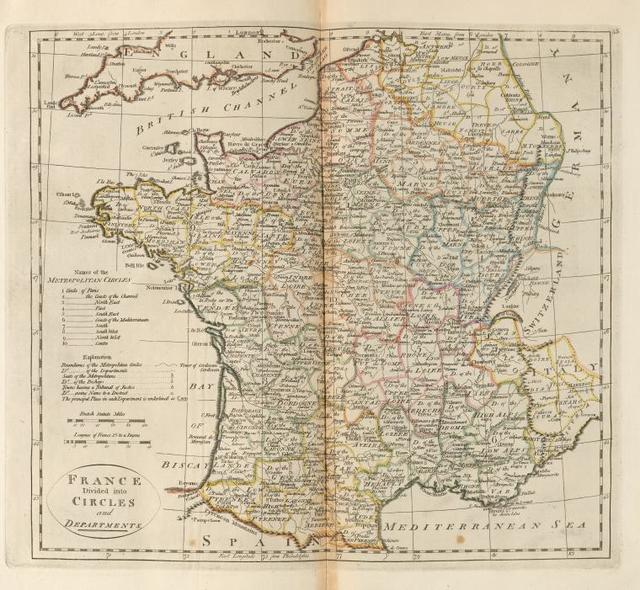 France, divided into circles and departments.