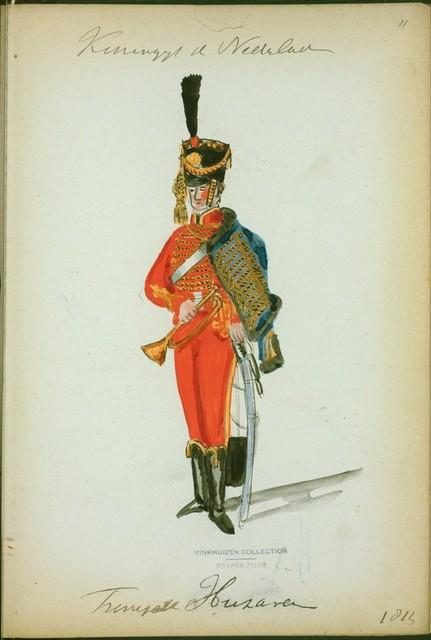 Koningrijk der Nederlanden. Trompette Huzaren. (1814)