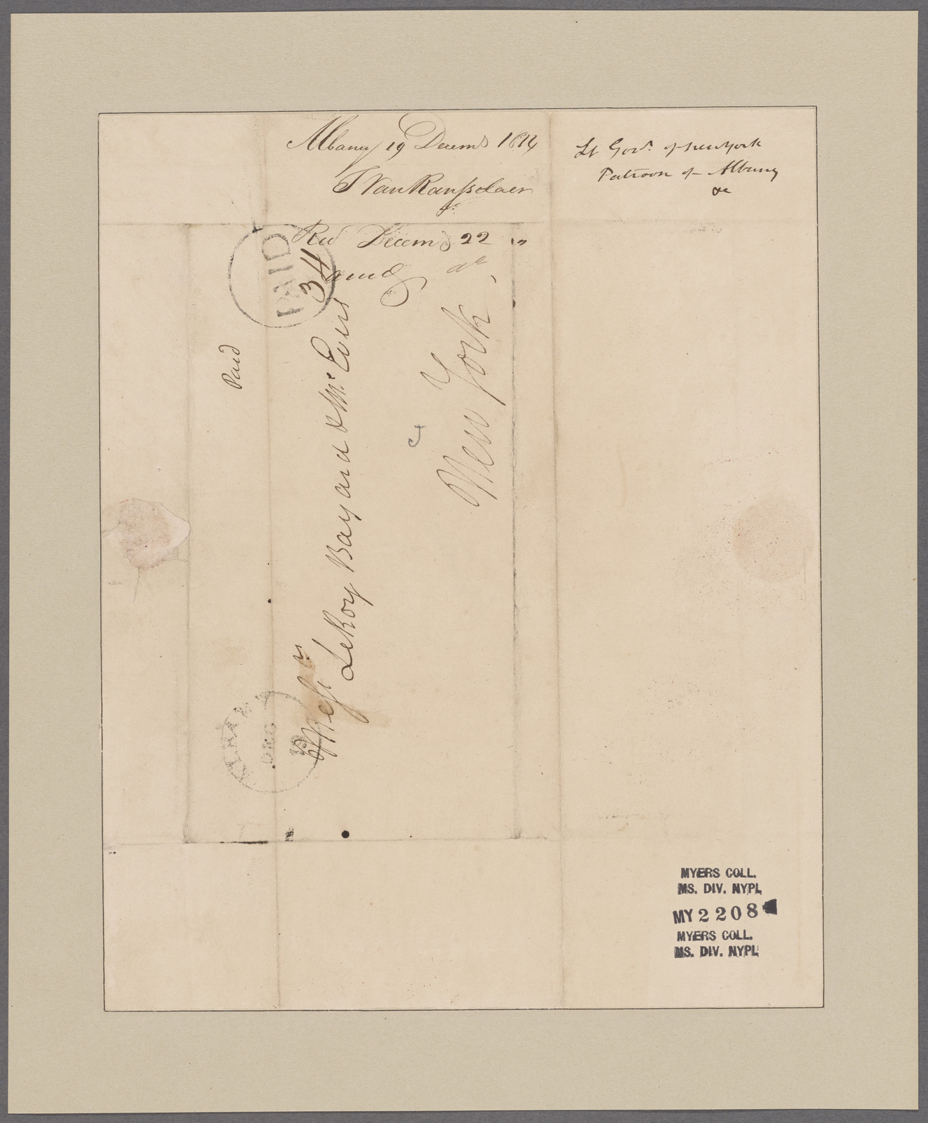 Van Rensselaer, Stephen. Albany. To Messrs. Le Roy Bayard and M. Evers
