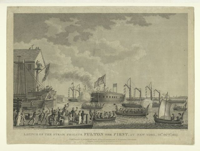 Launch of the steam frigate Fulton the First, at New York, 29th. Octr. 1814.