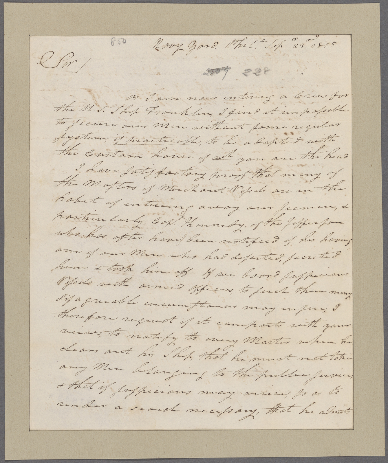 Murray, Alexander. Navy Yard, Philadelphia. To Gen. John Steele