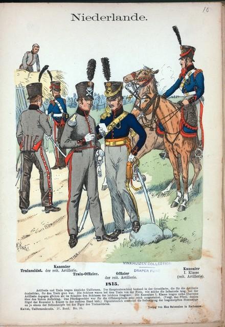 Niederlande. [L. to R.] Trainsoldat; Kanonier der reit. Artillerie; Train-Offizier; Offizier der reit. Artillerie; Kanonier 1 Klasse (reit. Artillerie.) (1815)