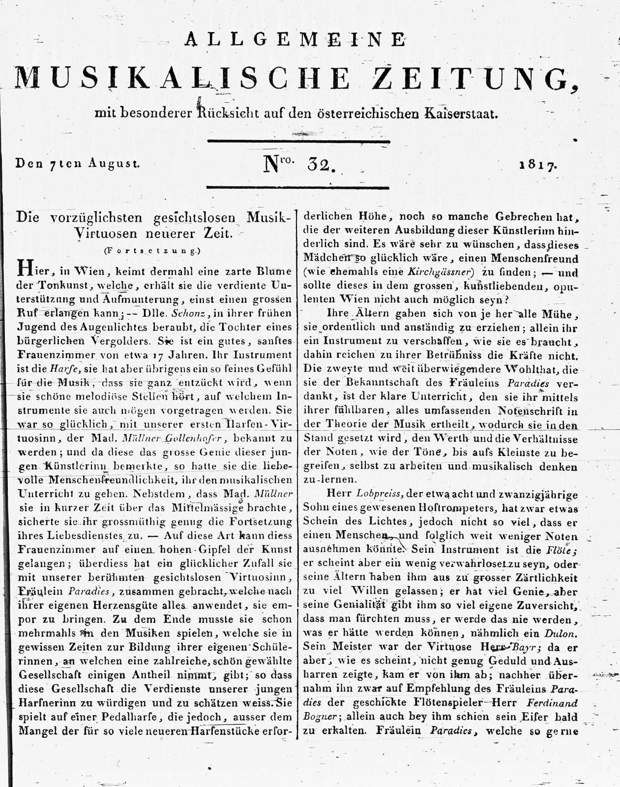 Allgemeine Musikalische Zeitung , Vol. 1, no. 32