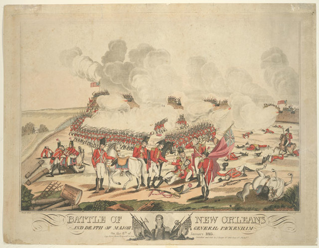 Battle of New Orleans and death of Major General Packenham on the 8th of January 1815.