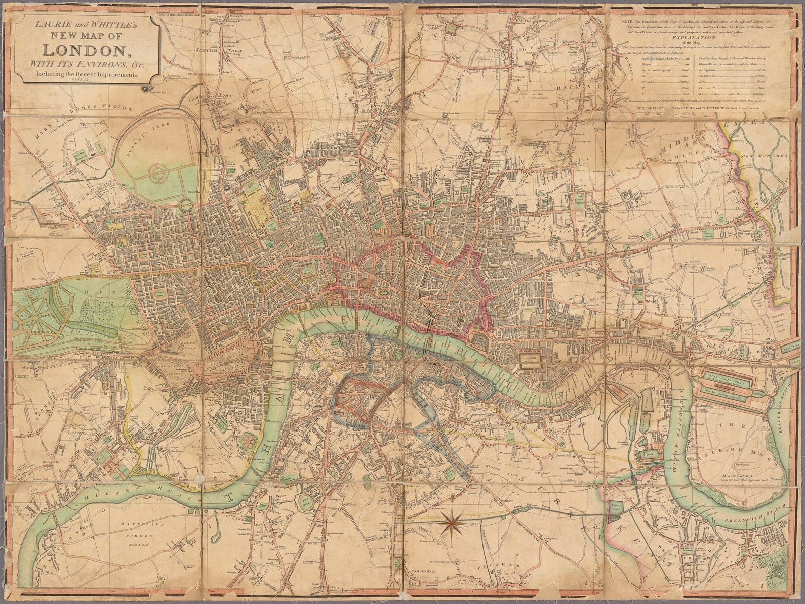 Map Of London 1600.Laurie And Whittle S New Map Of London With Its Environs C