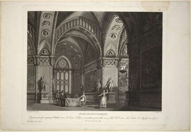 Appartamento d'una regina. Questa scena fu eseguita pel ballo eroico, il conte d'Essex, inventato, e posto sulle scene dell'I. R. Teatro alla Scala dal Sig. Gaetano Gioja, nell'autunno dell'anno 1818. A. Sanquirico inv. e dip. C. Zucchi inc.