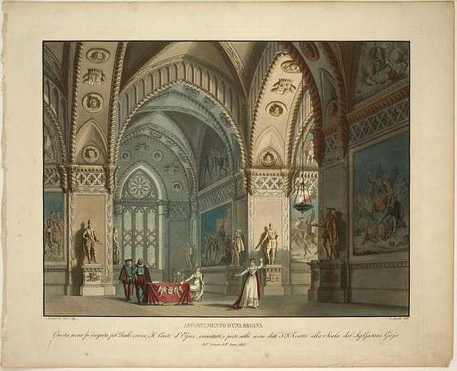 Appartamento d'una regina. Questa scena fu eseguita pel ballo eroico, Il conte d'Essex, inventato, e posto sulle scene dell'I. R. Teatro alla Scala dal Sig. Gaetano Gioja, nell'autunno dell'anno 1818. A. Sanquirico, inv. e dip.  C. Zucchi inc.