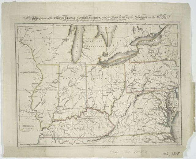Map of part of the United States of North America : with the territory of the Illinois on the Ohio, particularly designed to illustrate Birkbeck's journey