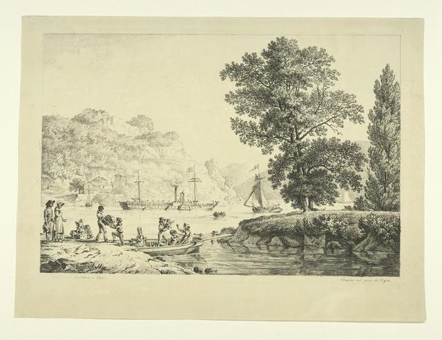 Vue de l'Hudson à West-Point avec le bateau inventé par Fulton.