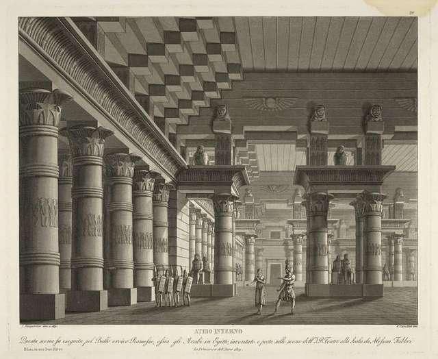 Atrio interno. Questa scena fu eseguita pel ballo eroico Ramesse, ossia Gli Arabi in Egitto, inventato e posto sulle scene dell'I. R. Teatro alla Scala da Alessan. Fabbri, la primavera dell'anno 1819. A. Sanquirico inv. e dip. G. Castellini inc.