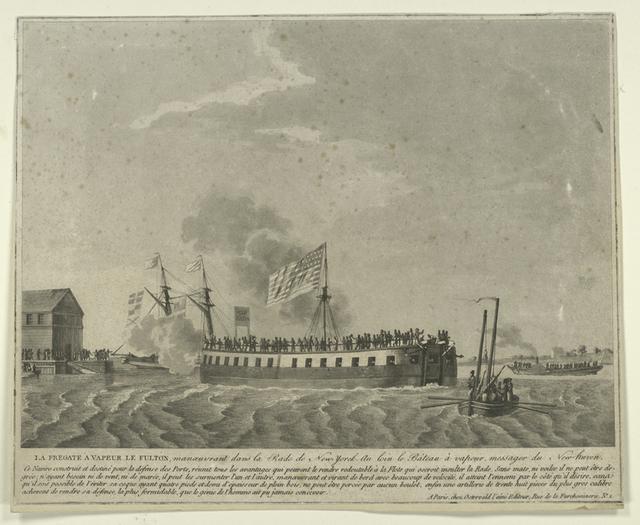 La fregate à vapeur le Fulton, manoeuvrant dans la rade de New-Yorck.