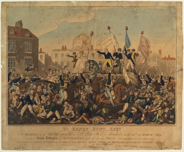 To Henry Hunt, Esqr., as chairman of the meeting assembled on St. Peter's Field, Manchester on the 16th of August, 1819, and to the female reformers of Manchester and the adjacent towns who were exposed to and suffered from the wanton and furious attack made on them by that brutal armed force the Manchester and Cheshire Yeomanry Cavalry, this plate is dedicated, by their fellow labourer, Richard Carlile