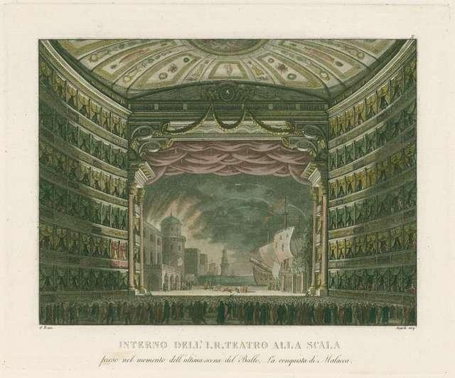 Interno dell' I. R. Teatro alla Scala preso nel momento dell'ultima scena del ballo, La conquista di Malacca. G. B. inc.  Angeli acq. [after a set design by Sanquirico]