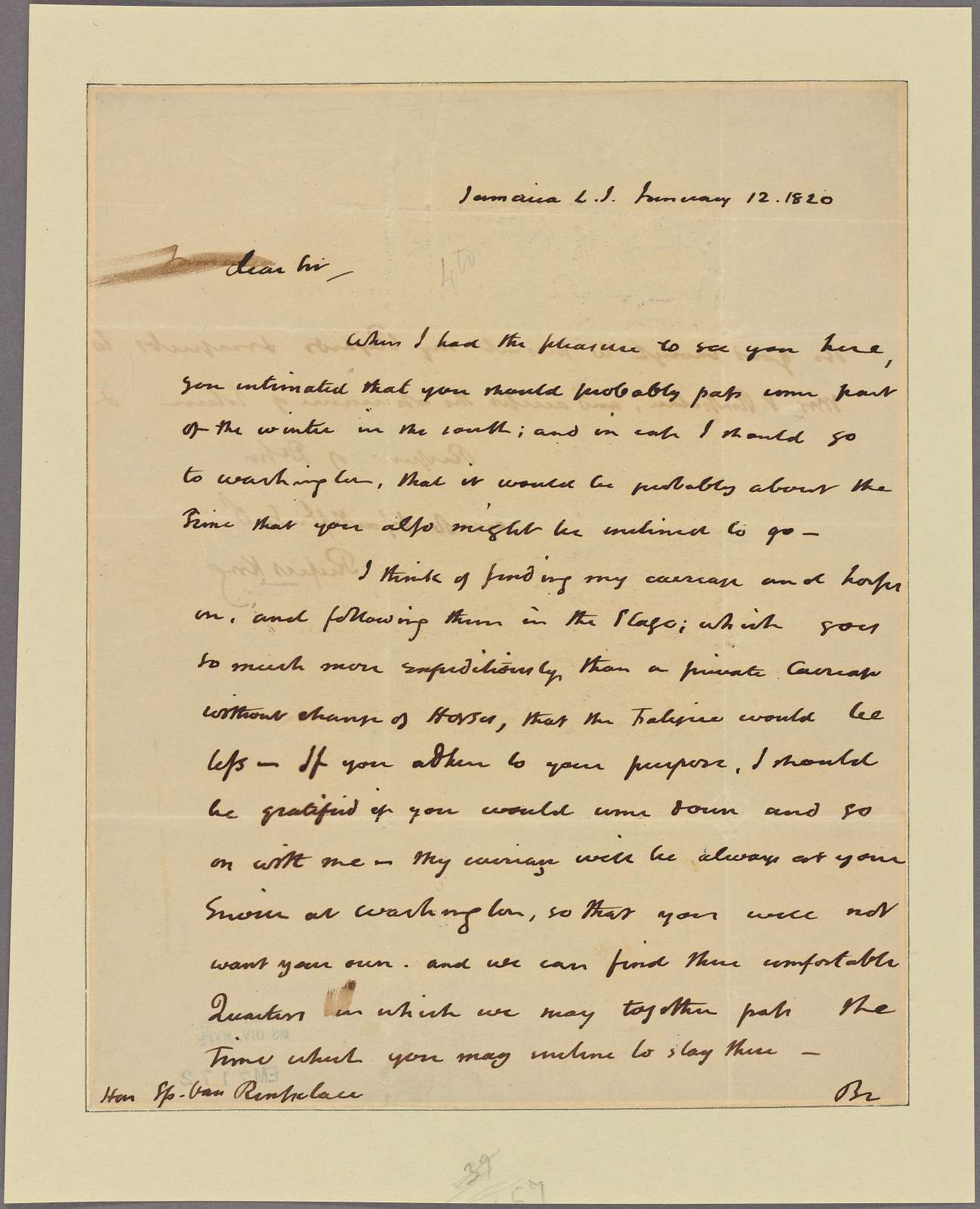 Letter to Stephen Van Rensselaer