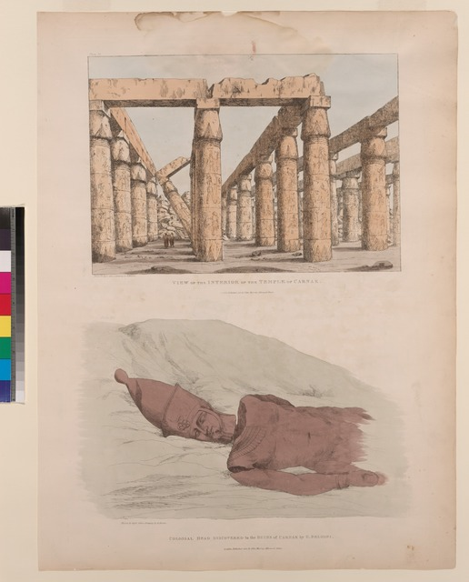 Colossal head discovered in the ruins of Carnak [Karnak] by G. Belzoni (Pl. 28) [bottom]; View of the interior of the temple of Carnak [Karnak] (Pl. 31) [top].