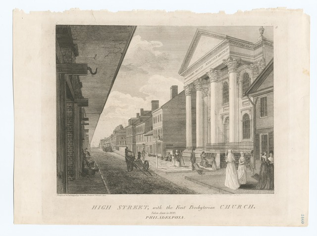 High Street, with the First Presbyterian Church.