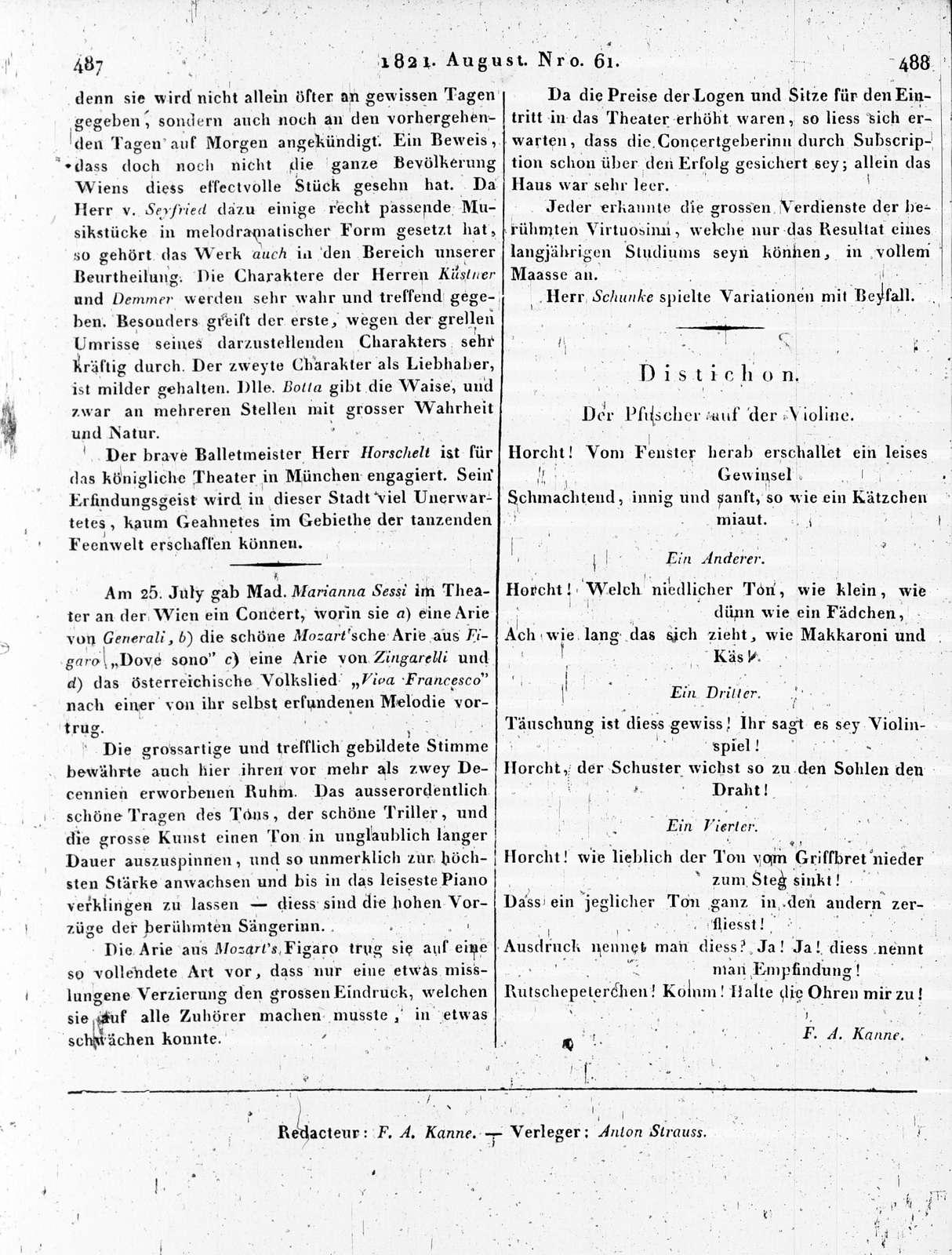 Allgemeine Musikalische Zeitung, Vol. 5, no. 61