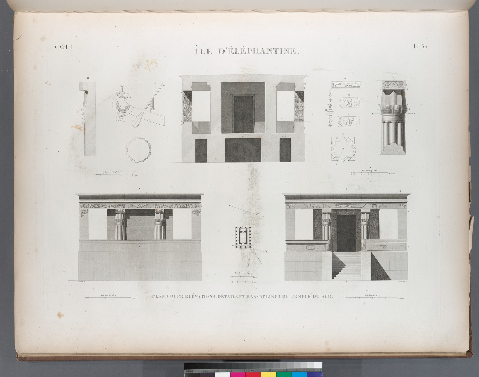 Île d'Éléphantine. Plan, coupe, élévations, détails et bas-reliefs du temple du sud.