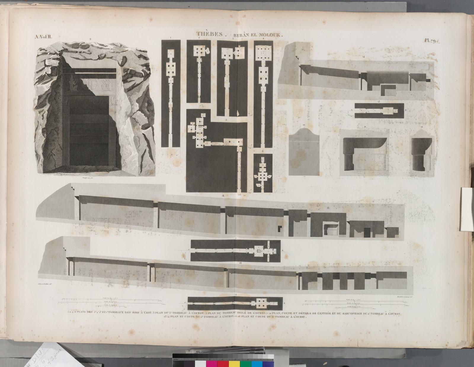 Thèbes. Bybân el-Molouk [Bîbân al-Mulûk]. 1.2.4.6. Plan des 3-e, 4-e, 2-e et 1-r tombeaux des rois à l'est; 3. Plan du 3-e tombeau à l'ouest; 5. Plan du tombeau isolé de l'ouest; 7-12. Plan, coupe et détails de l'entrée et du sarcophage du 2-e tombeau à l'ouest; 13.14. Plan et coupe du 1-r tombeau à l'ouest; 15.16. Plan et coupe du 6-e tombeau à l'ouest.