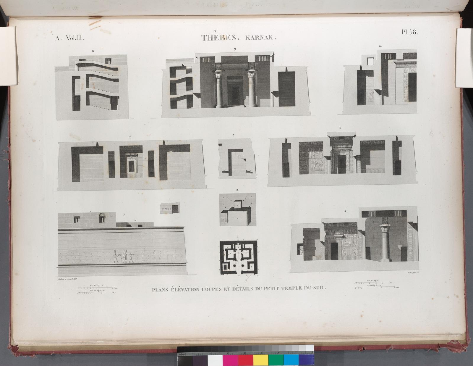 Thèbes. Karnak. Plans élévation coupes et détails du petit temple du sud.