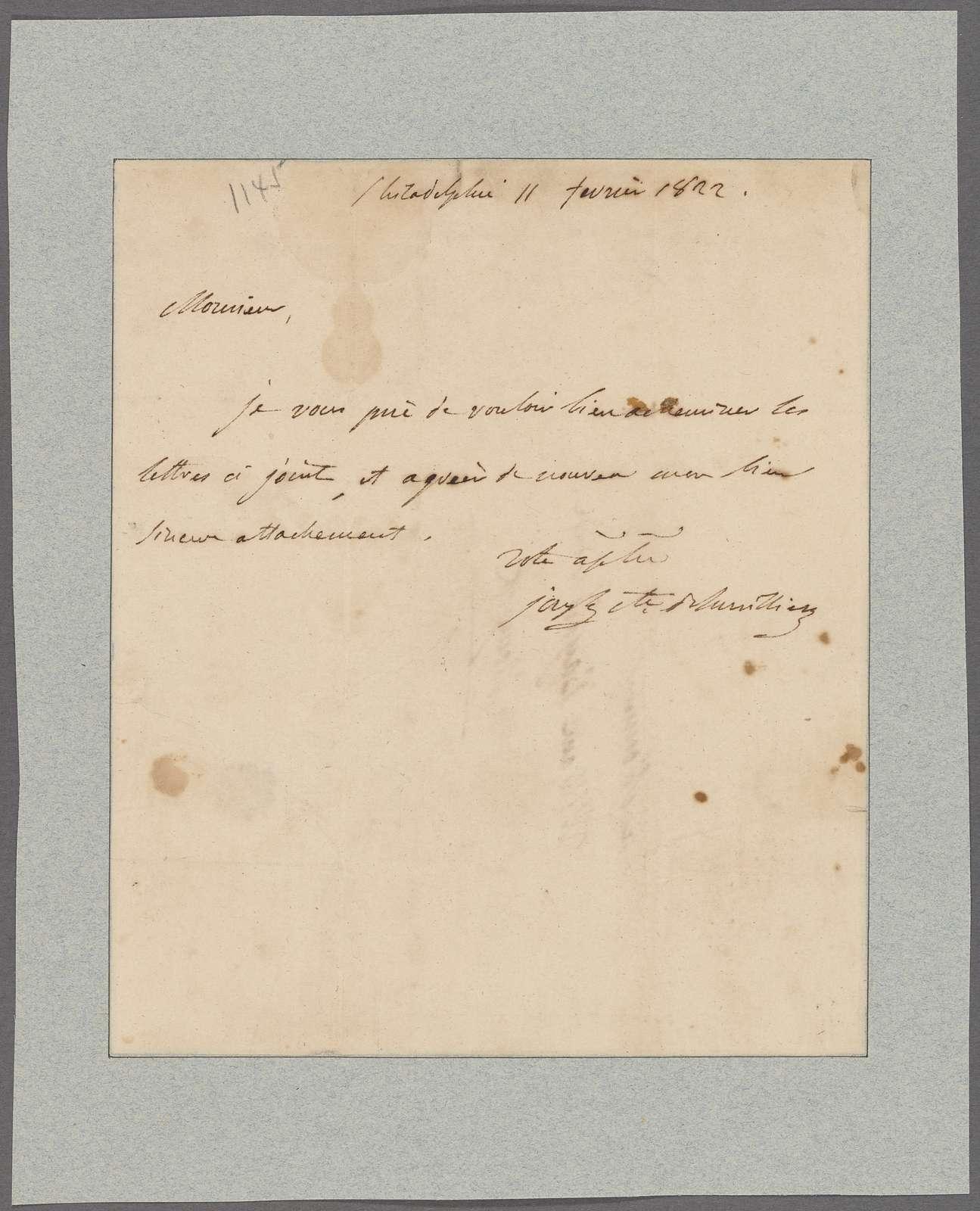 Bonaparte, Joseph. Philadelphia. To William Bayard, Jr
