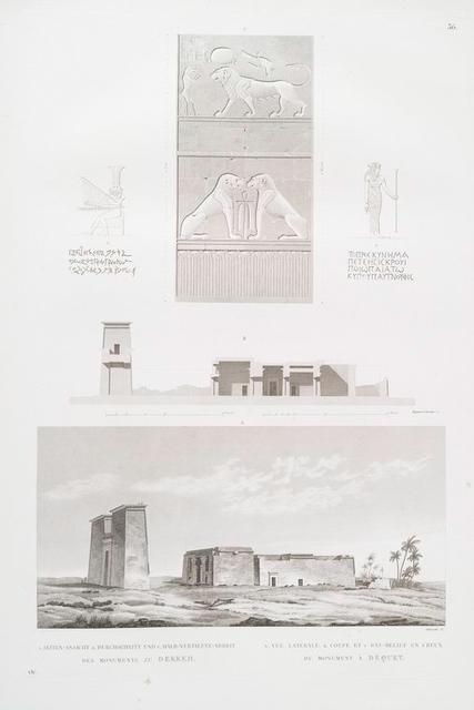 A. Seinten-Ansicht, B. Durchschnitt und C. Halb-vertiefte-Arbeit des Monuments zu Dekkeh. = A. Vue latérale, B. Coupe et C. Bas-relief en creux du monument à Dequet.