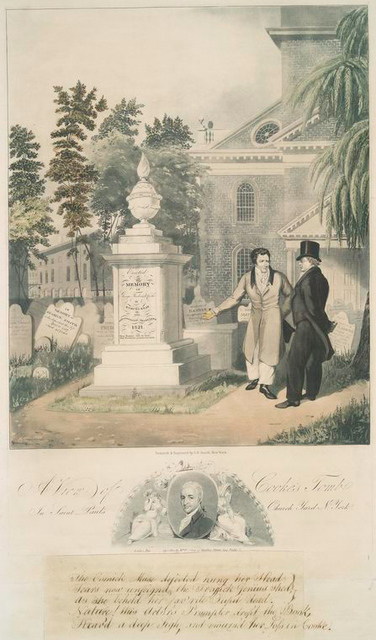 A view of Cooke's tomb in Saint Paul's church yard New York.