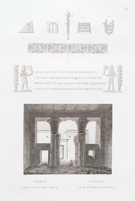 Dekkeh. Innere Ansicht der Vorhalle. = Deqqeh. Vue de l'intérieur du portique.