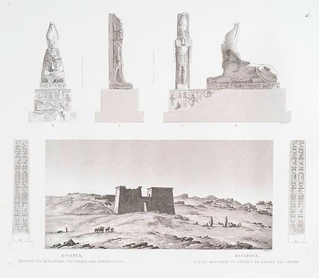 Essabua [el-Sebua]. Ansicht des Monument und Theile der Sphinx-Allee. = Essaboua. Vue du monument et détails de l'allée des Sphinx.