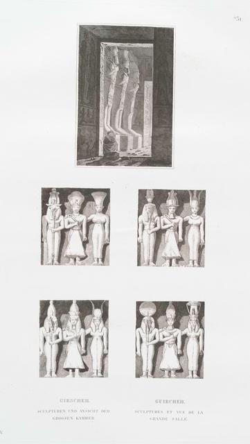 Girscheh. Sculpturen und Ansicht der grossen Kammer. = Guircheh. Sculptures et vue de la grande salle.