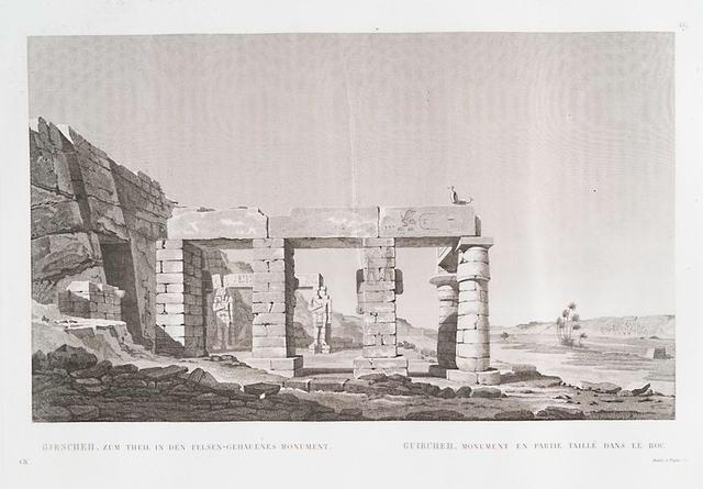 Girscheh. Zum Theil in den Felsen-Gehauenes Monument. = Guircheh. Monument en partie taillé dans le roc.