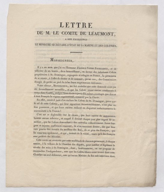 Letter to the Minister of Marine and Colonies, & petition to the Chamber of Deputies advocating a French military invasion of Haiti