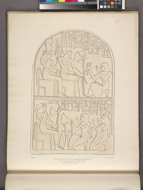 Stone tablet found in a tomb at Thebes. 1818. Same size as the original. In the collection of the Earl of Belmore.