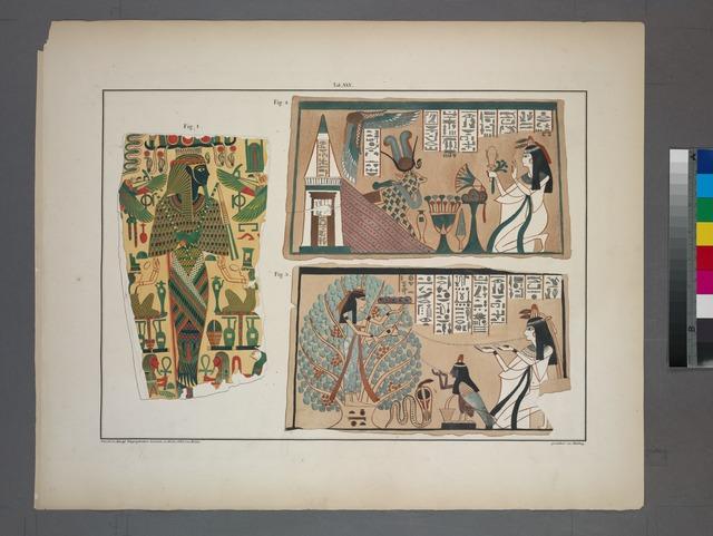 [1. Osiris, Isis und Buto; 2. Anbetung der heiligen Kuh der Venus; 3. Menuthis spendet Wasser des Lebens.]