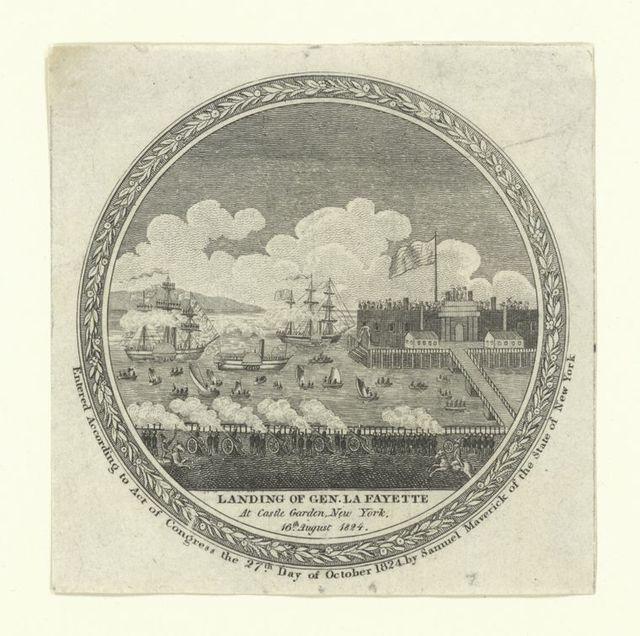 Landing of Gen. La Fayette at Castle Garden, New York, 16th August 1824.