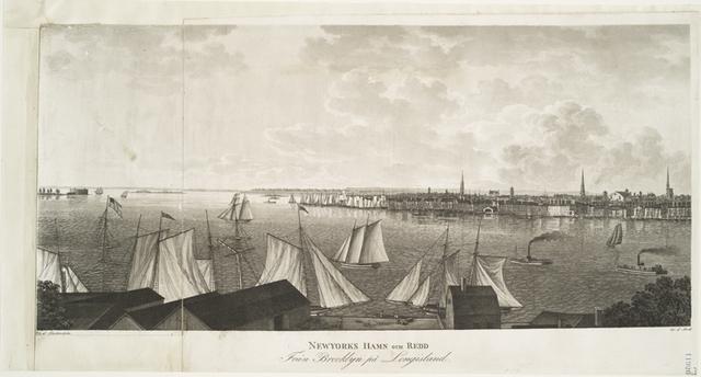 Newyorks hamn och redd från Brooklyn på Longisland.