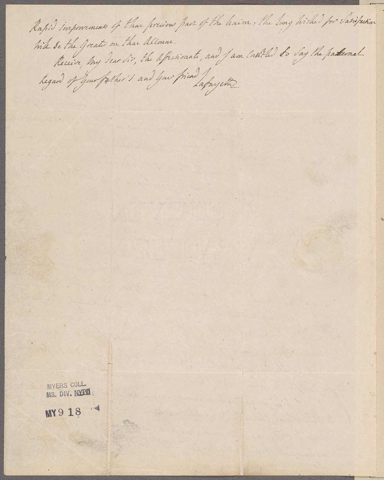 Lafayette, [Marquis de]. Washington. To Morgan Neville