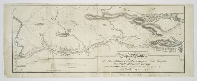 Map and profile of the Champlain Canal as made from Lake Champlain to the Hudson River and surveyed thence to the tide at Waterford
