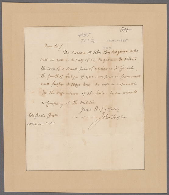 Taylor, John. To Colonel Charles Clinton