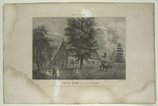 View of Flushing (Long Island) North America.  Mr Bowne's house.  It remains in the possession of his family ever since 1661 time when it was built.