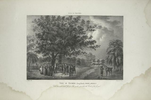 View of Flushing (Long Island), North America, oak-trees, under which George Fox, Quaker, preached the truths of the Gospel.