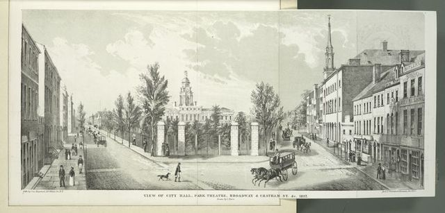 View of City Hall, Park Theatre, Broadway and Chatham St. etc. 1822