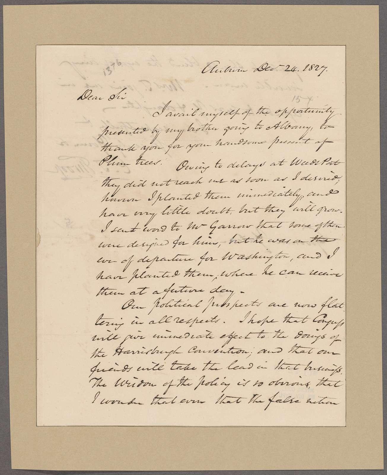 Throop, Enos T. Auburn. To Governor [Joseph C.] Yates