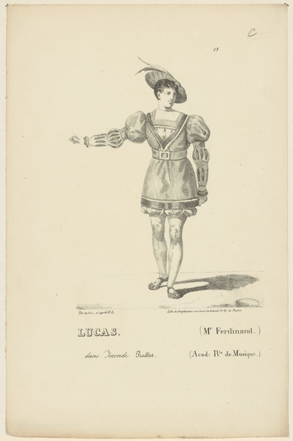Lucas. (Mr. Ferdinand) dans Joconde. Ballet. (Acad. Rle de Musique). Pat de vin, d'après H. L. Lith. de Engelmann, Paris.
